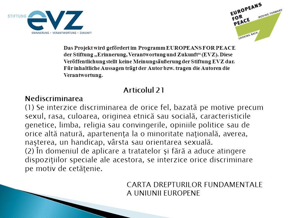 """Das Projekt wird gefördert im Programm EUROPEANS FOR PEACE der Stiftung """"Erinnerung, Verantwortung und Zukunft"""" (EVZ). Diese Veröffentlichung stellt k"""