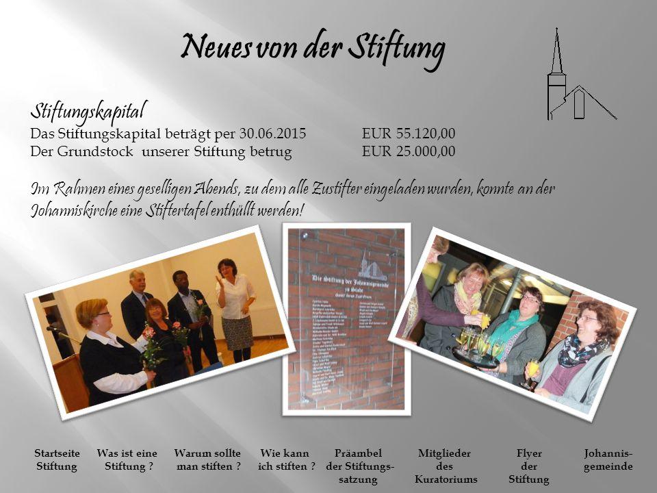 Neues von der Stiftung Stiftungskapital Das Stiftungskapital beträgt per 30.06.2015 EUR 55.120,00 Der Grundstock unserer Stiftung betrug EUR 25.000,00