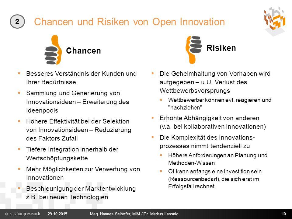 Chancen und Risiken von Open Innovation Chancen  Besseres Verständnis der Kunden und Ihrer Bedürfnisse  Sammlung und Generierung von Innovationsidee