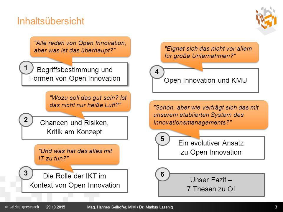 Inhaltsübersicht 29.10.2015Mag. Hannes Selhofer, MIM / Dr. Markus Lassnig3 Chancen und Risiken, Kritik am Konzept Open Innovation und KMU Ein evolutiv