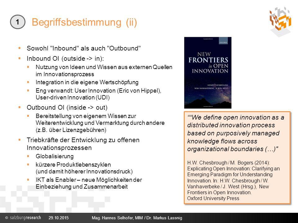 Begriffsbestimmung (ii) 29.10.2015Mag. Hannes Selhofer, MIM / Dr. Markus Lassnig 1  Sowohl