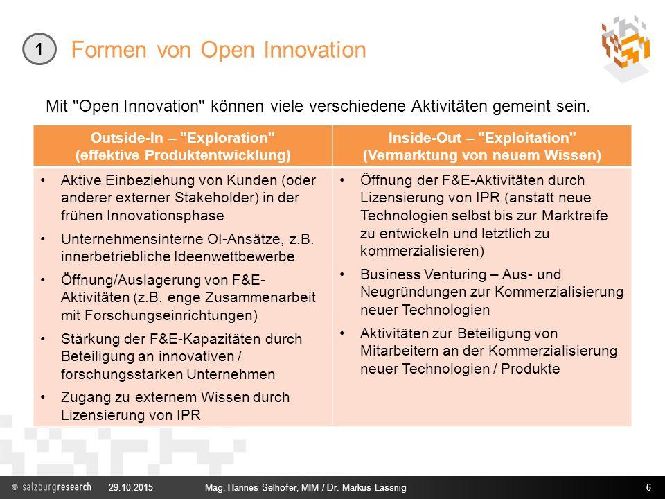 Formen von Open Innovation Outside-In –