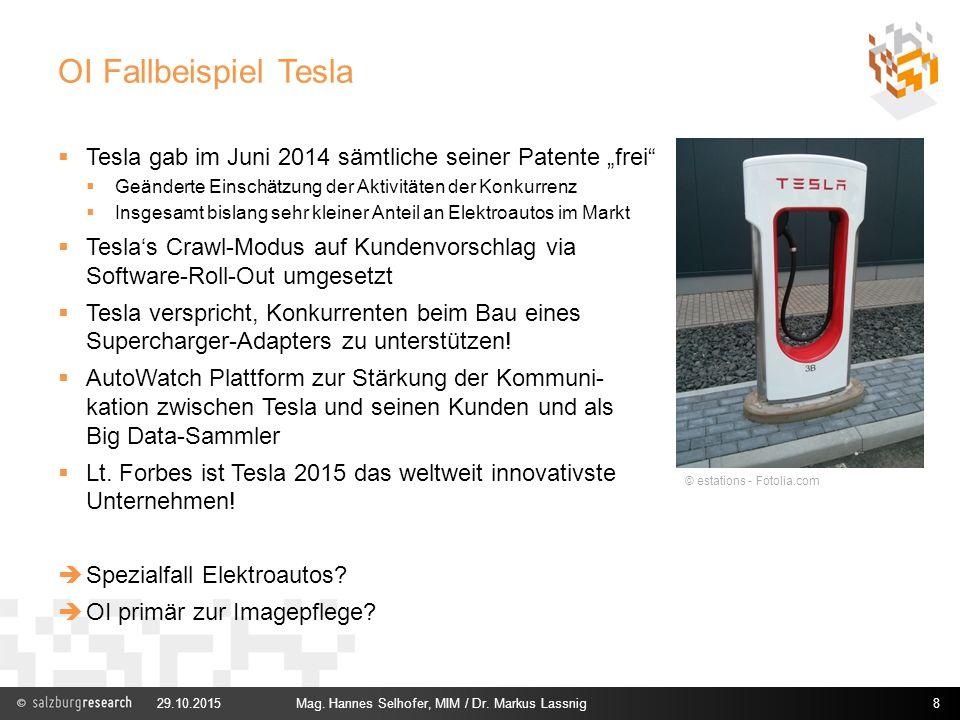 """OI Fallbeispiel Tesla  Tesla gab im Juni 2014 sämtliche seiner Patente """"frei""""  Geänderte Einschätzung der Aktivitäten der Konkurrenz  Insgesamt bis"""