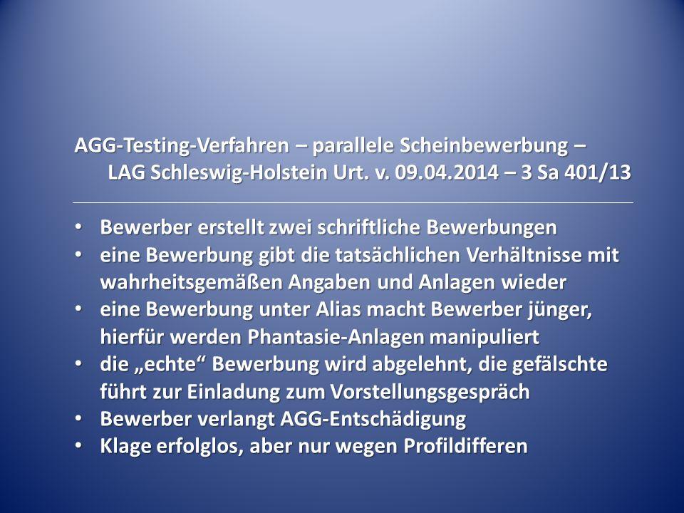 AGG-Testing-Verfahren – parallele Scheinbewerbung – LAG Schleswig-Holstein Urt.