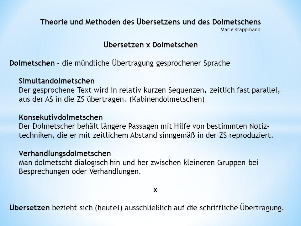 Übersetzen x Dolmetschen Dolmetschen – die mündliche Übertragung gesprochener Sprache Simultandolmetschen Der gesprochene Text wird in relativ kurzen