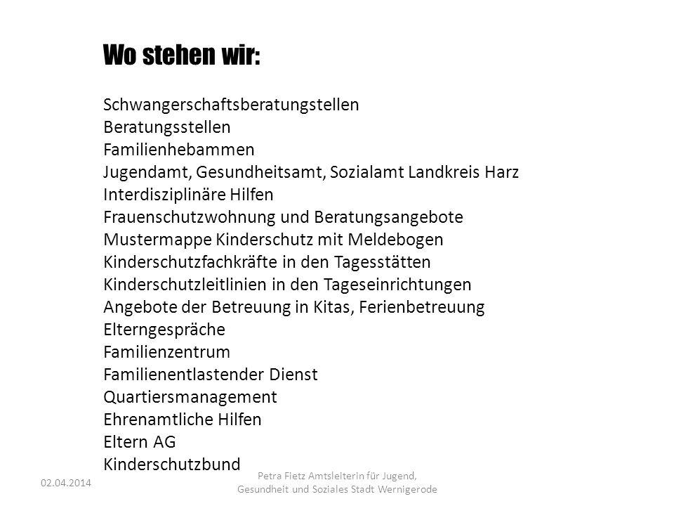 Wo stehen wir: Schwangerschaftsberatungstellen Beratungsstellen Familienhebammen Jugendamt, Gesundheitsamt, Sozialamt Landkreis Harz Interdisziplinäre