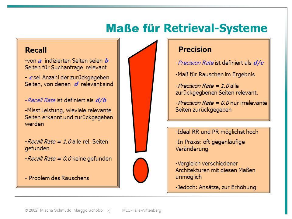 © 2002 Mischa Schmüdd, Marggo Schobb :-) MLU-Halle-Wittenberg Maße für Retrieval-Systeme Recall - c sei Anzahl der zurückgegeben Seiten, von denen d r