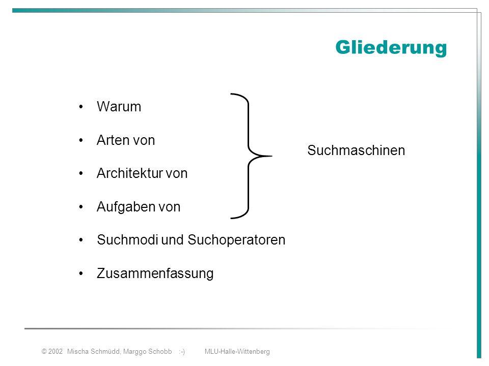 © 2002 Mischa Schmüdd, Marggo Schobb :-) MLU-Halle-Wittenberg Gliederung Warum Arten von Architektur von Aufgaben von Suchmodi und Suchoperatoren Zusa