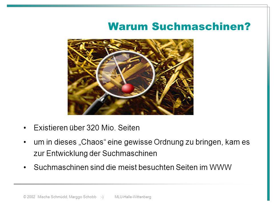"""© 2002 Mischa Schmüdd, Marggo Schobb :-) MLU-Halle-Wittenberg Warum Suchmaschinen? Existieren über 320 Mio. Seiten um in dieses """"Chaos"""" eine gewisse O"""