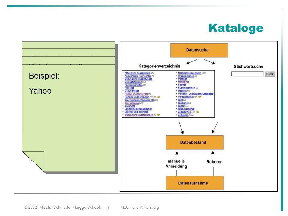 © 2002 Mischa Schmüdd, Marggo Schobb :-) MLU-Halle-Wittenberg Kataloge Besteht aus hierarchisch aufgebauten Sachgebieten (Linksammlungen) Die Navigati