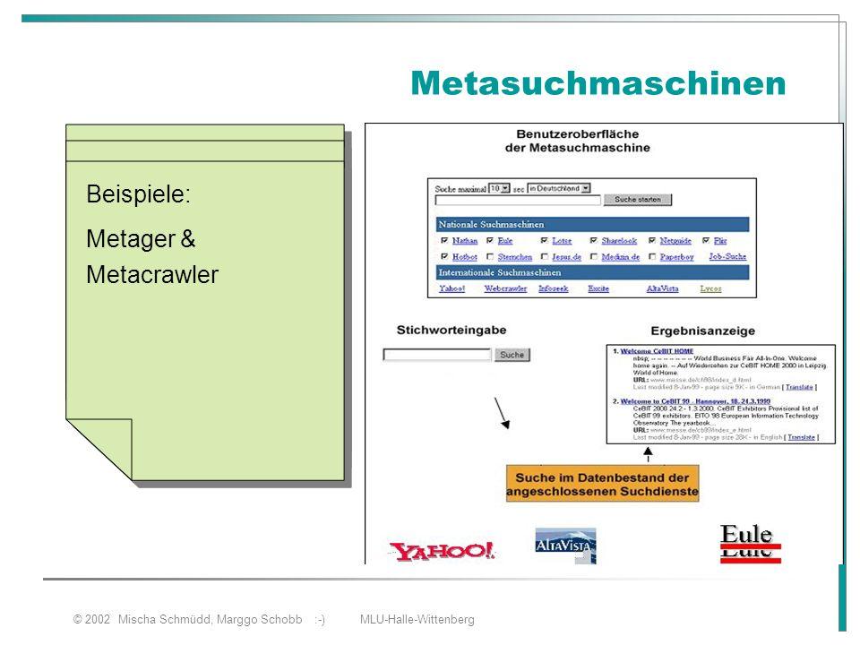 © 2002 Mischa Schmüdd, Marggo Schobb :-) MLU-Halle-Wittenberg Metasuchmaschinen Sind Abfragesysteme, die mit mehreren Suchmaschinen oder Katalogen arb