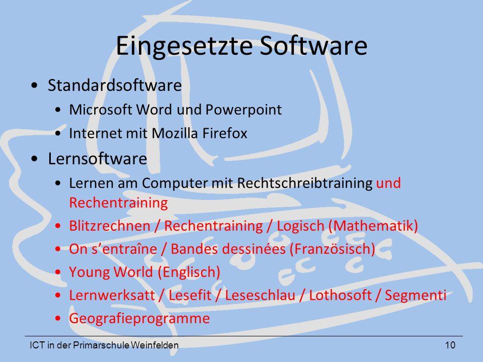 ICT in der Primarschule Weinfelden10 Eingesetzte Software Standardsoftware Microsoft Word und Powerpoint Internet mit Mozilla Firefox Lernsoftware Ler