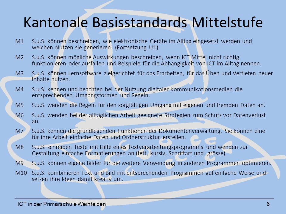 ICT in der Primarschule Weinfelden6 Kantonale Basisstandards Mittelstufe M1 S.u.S. können beschreiben, wie elektronische Geräte im Alltag eingesetzt w