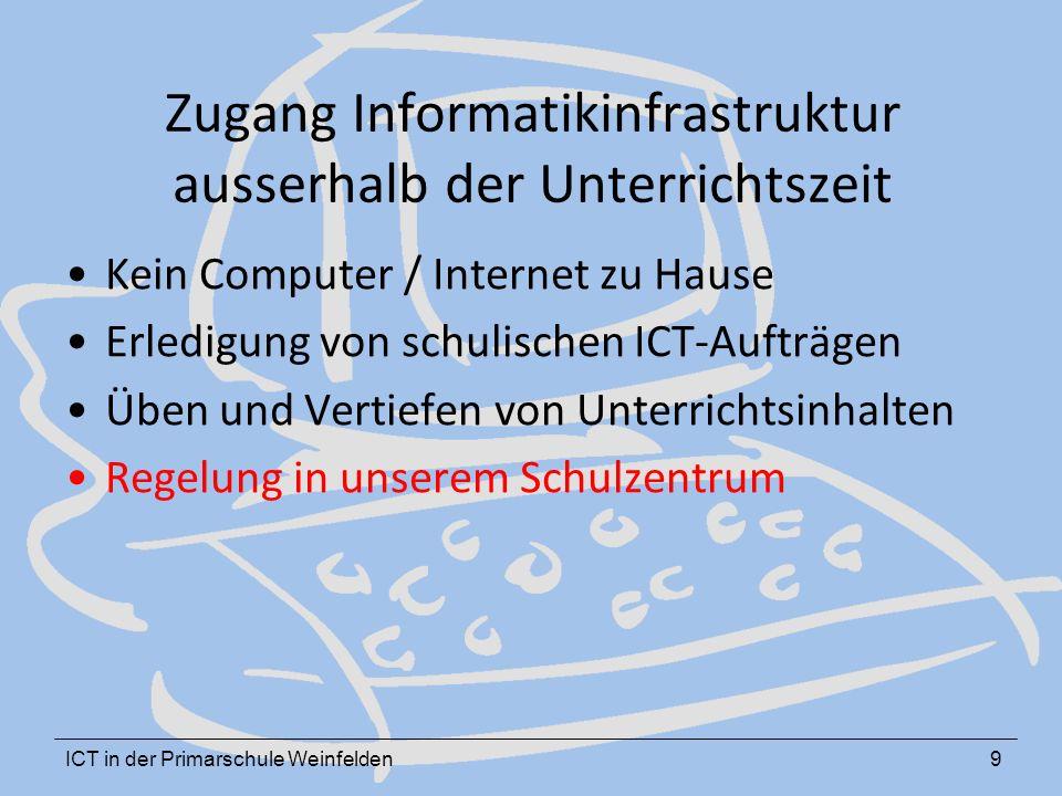 ICT in der Primarschule Weinfelden9 Zugang Informatikinfrastruktur ausserhalb der Unterrichtszeit Kein Computer / Internet zu Hause Erledigung von schulischen ICT-Aufträgen Üben und Vertiefen von Unterrichtsinhalten Regelung in unserem Schulzentrum