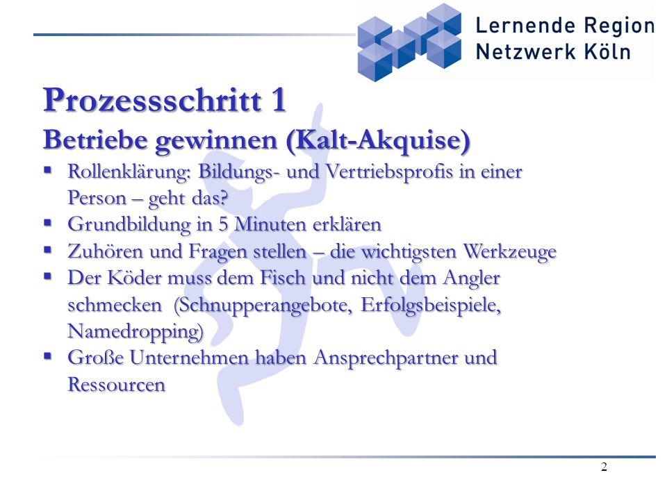 2 Prozessschritt 1 Betriebe gewinnen (Kalt-Akquise)  Rollenklärung: Bildungs- und Vertriebsprofis in einer Person – geht das.
