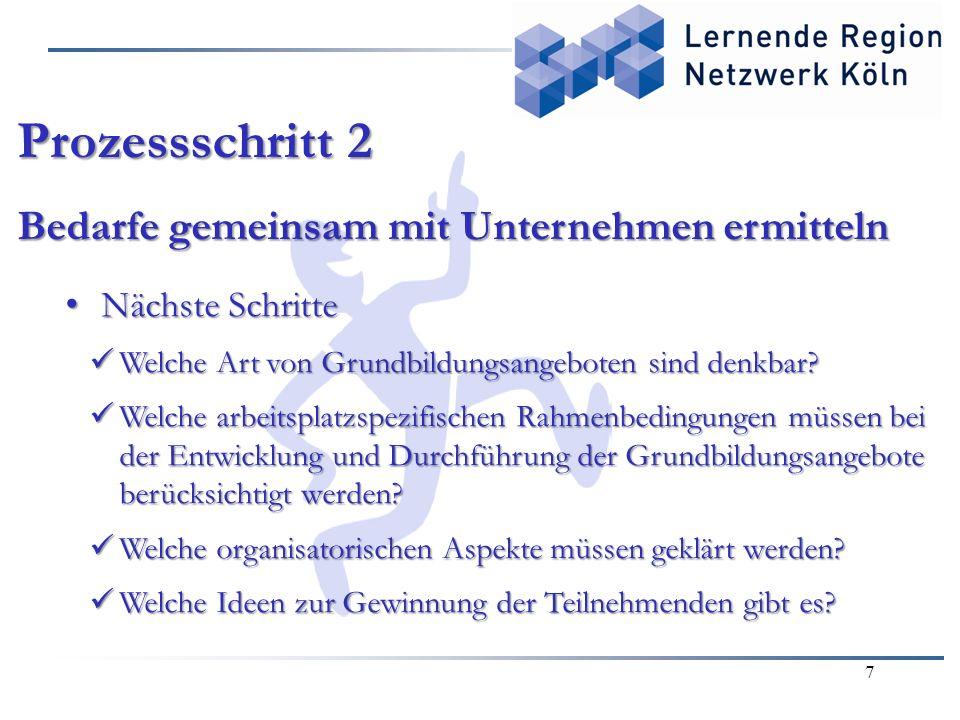 7 Prozessschritt 2 Bedarfe gemeinsam mit Unternehmen ermitteln Nächste Schritte Nächste Schritte Welche Art von Grundbildungsangeboten sind denkbar.