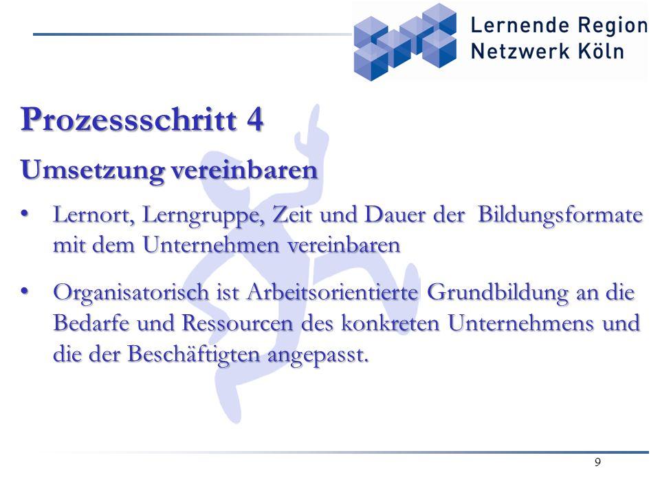 9 Prozessschritt 4 Umsetzung vereinbaren Lernort, Lerngruppe, Zeit und Dauer der Bildungsformate mit dem Unternehmen vereinbaren Lernort, Lerngruppe,