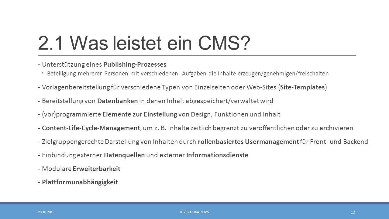 2.1 Was leistet ein CMS.