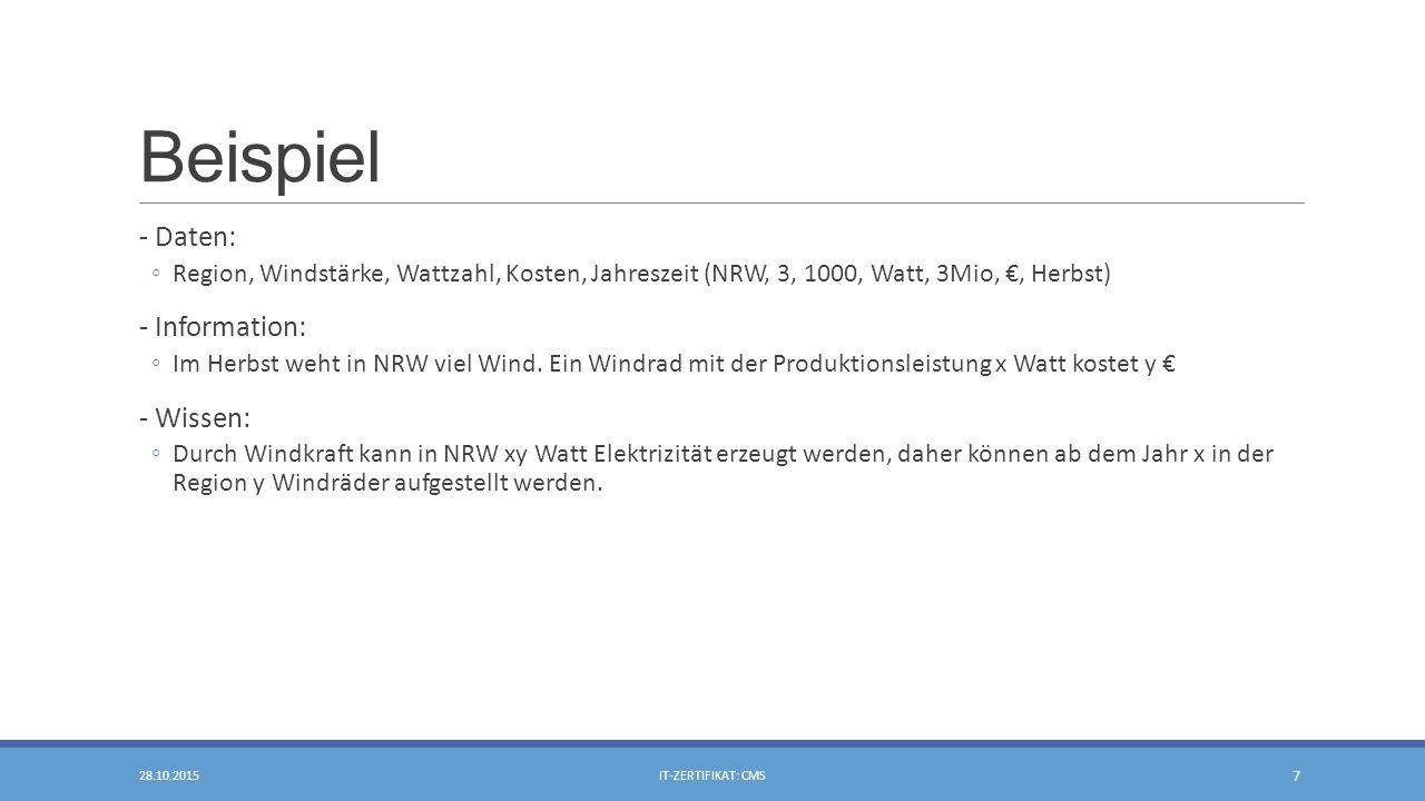 Beispiel - Daten: ◦Region, Windstärke, Wattzahl, Kosten, Jahreszeit (NRW, 3, 1000, Watt, 3Mio, €, Herbst) - Information: ◦Im Herbst weht in NRW viel Wind.