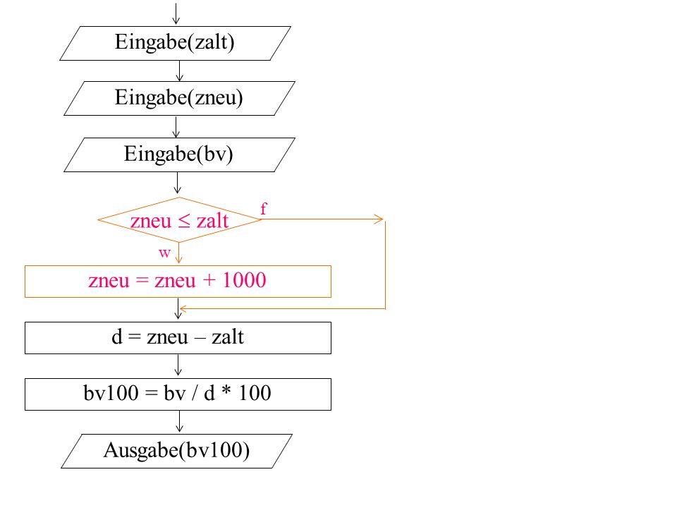 zneu  zalt f w Eingabe(zalt) Eingabe(zneu) Eingabe(bv) zneu = zneu + 1000 d = zneu – zalt Ausgabe(bv100) bv100 = bv / d * 100