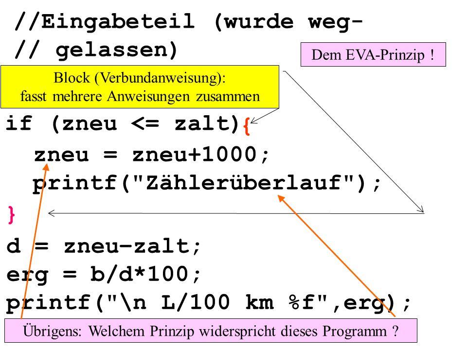 //Eingabeteil (wurde weg- // gelassen) if (zneu <= zalt) zneu = zneu+1000; printf( Zählerüberlauf ); } d = zneu–zalt; erg = b/d*100; printf( \n L/100 km %f ,erg); Block (Verbundanweisung): fasst mehrere Anweisungen zusammen { Übrigens: Welchem Prinzip widerspricht dieses Programm .