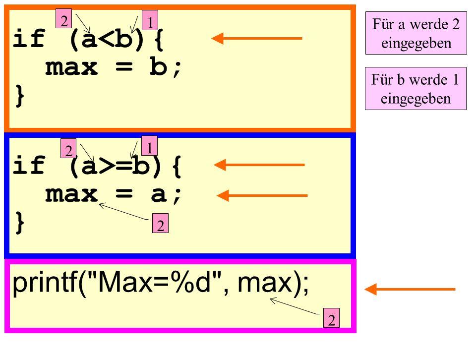 if (a<b){ max = b; } printf( Max=%d , max); if (a>=b){ max = a; } 1 2 Für a werde 2 eingegeben Für b werde 1 eingegeben 2 1 2 2