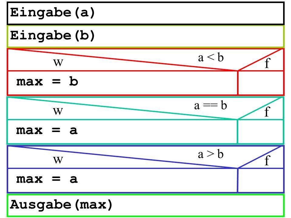 max = b Ausgabe(max) a < b w f Eingabe(b) Eingabe(a) max = a a > b w f max = a a == b w f