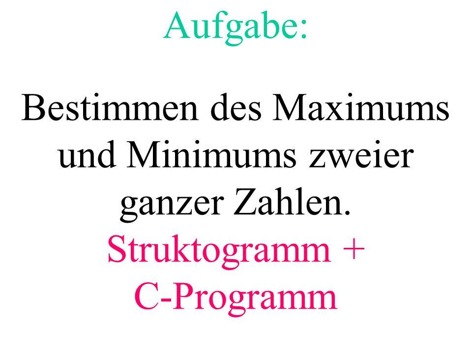 Aufgabe: Bestimmen des Maximums und Minimums zweier ganzer Zahlen. Struktogramm + C-Programm