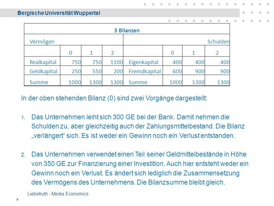 Bergische Universität Wuppertal Liebetruth - Media Economics 9 In der oben stehenden Bilanz (0) sind zwei Vorgänge dargestellt: 1.