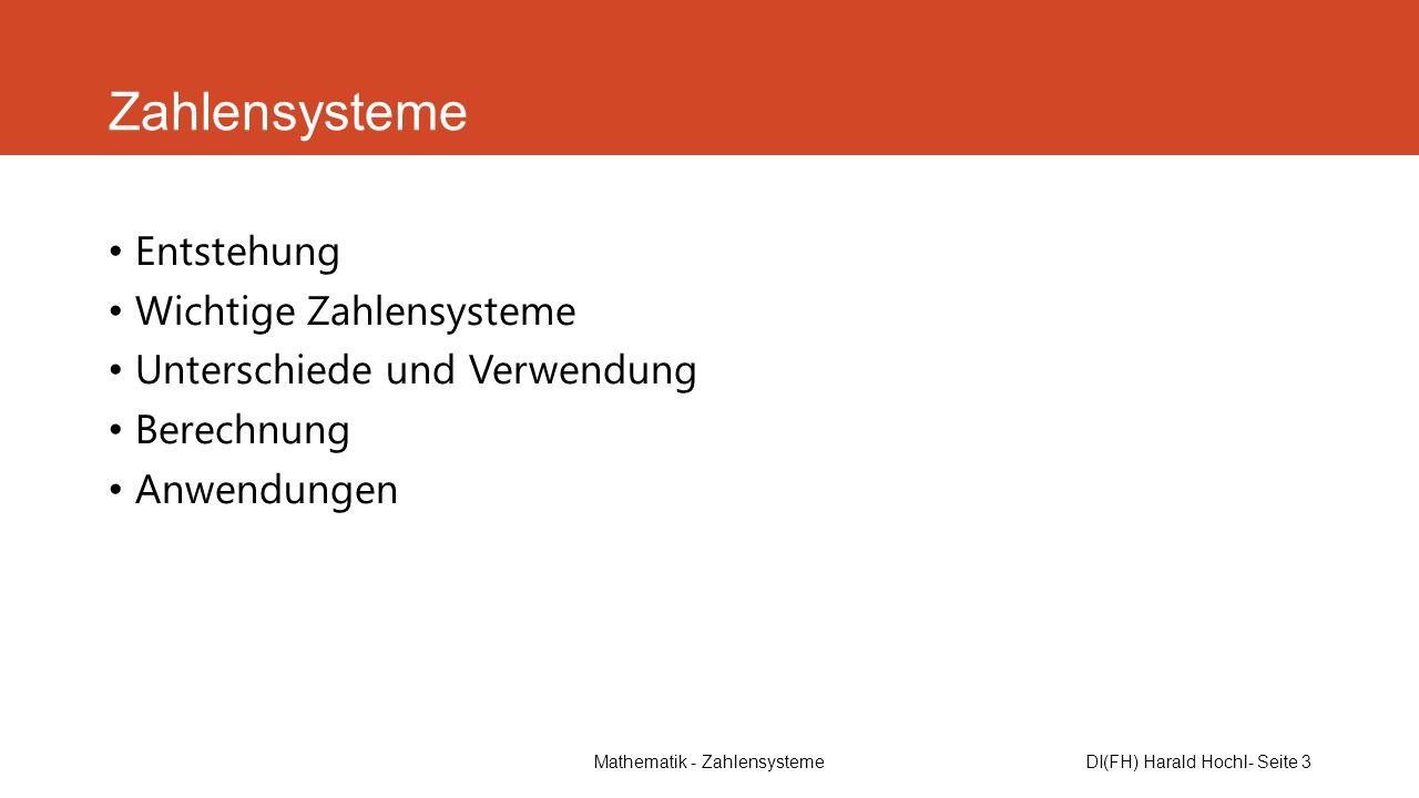 DI(FH) Harald Hochl- Seite 3 Zahlensysteme Entstehung Wichtige Zahlensysteme Unterschiede und Verwendung Berechnung Anwendungen