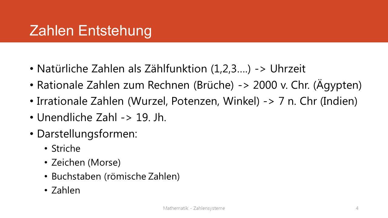 Mathematik - Zahlensysteme4 Zahlen Entstehung Natürliche Zahlen als Zählfunktion (1,2,3….) -> Uhrzeit Rationale Zahlen zum Rechnen (Brüche) -> 2000 v.
