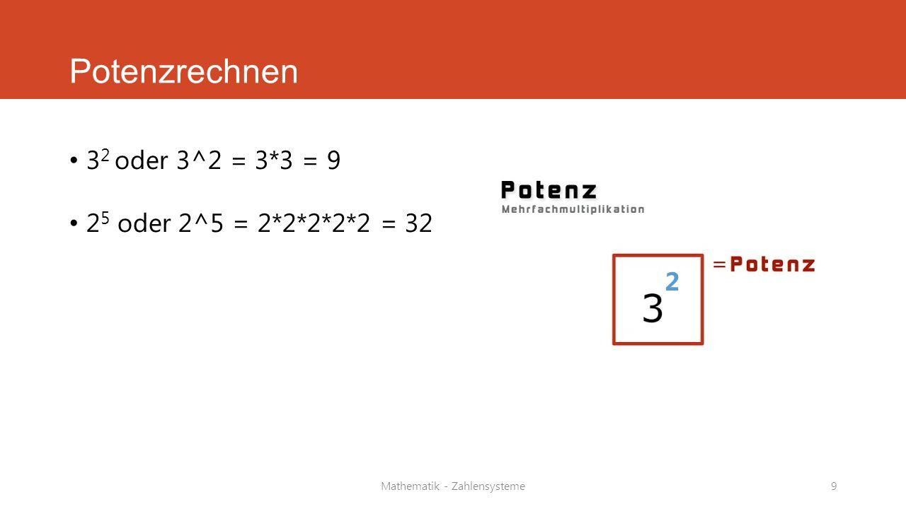 Mathematik - Zahlensysteme9 Potenzrechnen 3 2 oder 3^2 = 3*3 = 9 2 5 oder 2^5 = 2*2*2*2*2 = 32 2
