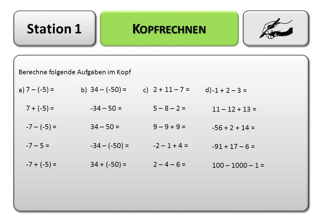 Station 1 L ÖSUNG Berechne folgende Aufgaben im Kopf a)b)c)d) Berechne folgende Aufgaben im Kopf a)b)c)d) 7 – (-5) = 12 7 + (-5) = 2 -7 – (-5) = -2 -7 – 5 = -12 -7 + (-5) = -12 34 – (-50) = 84 -34 – 50 = -84 34 – 50 = -16 -34 – (-50) = 16 34 + (-50) = -16 2 + 11 – 7 = 6 5 – 8 – 2 = -5 9 – 9 + 9 = 9 -2 – 1 + 4 = 1 2 – 4 – 6 = -8 -1 + 2 – 3 = -2 11 – 12 + 13 = 12 -56 + 2 + 14 = -40 -91 + 17 – 6 = -80 100 – 1000 – 1 = -901