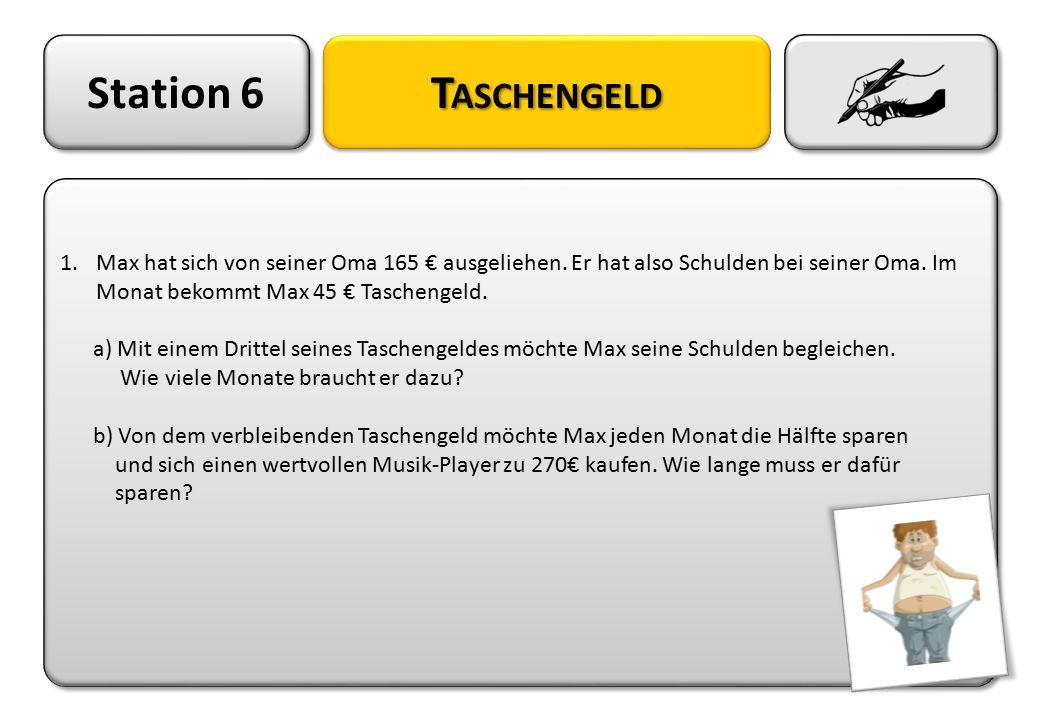 Station 6 T ASCHENGELD 1.Max hat sich von seiner Oma 165 € ausgeliehen. Er hat also Schulden bei seiner Oma. Im Monat bekommt Max 45 € Taschengeld. a)