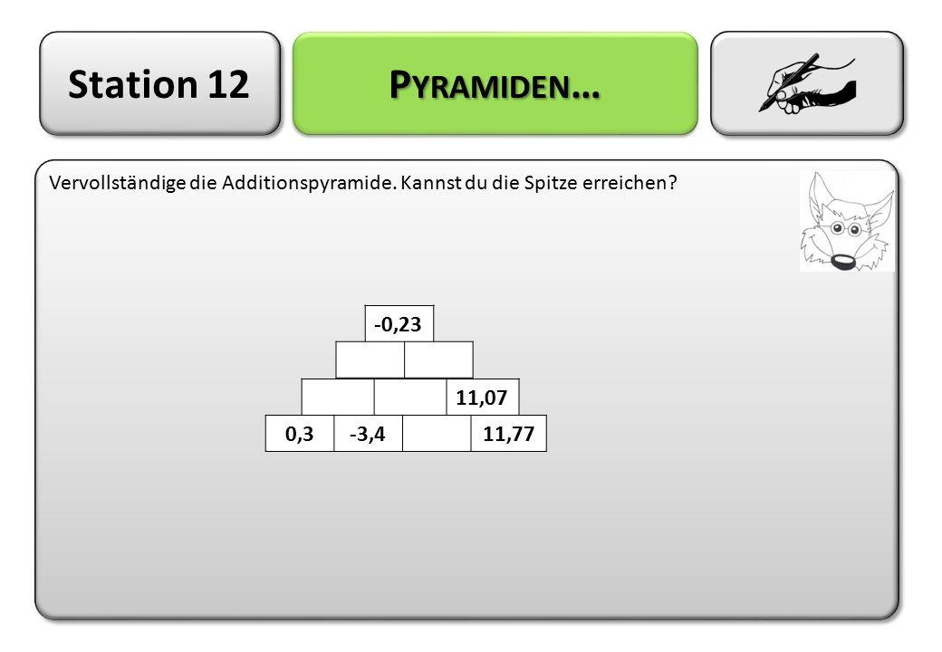 Station 12 P YRAMIDEN … Vervollständige die Additionspyramide. Kannst du die Spitze erreichen? -0,23 11,07 0,3-3,411,77
