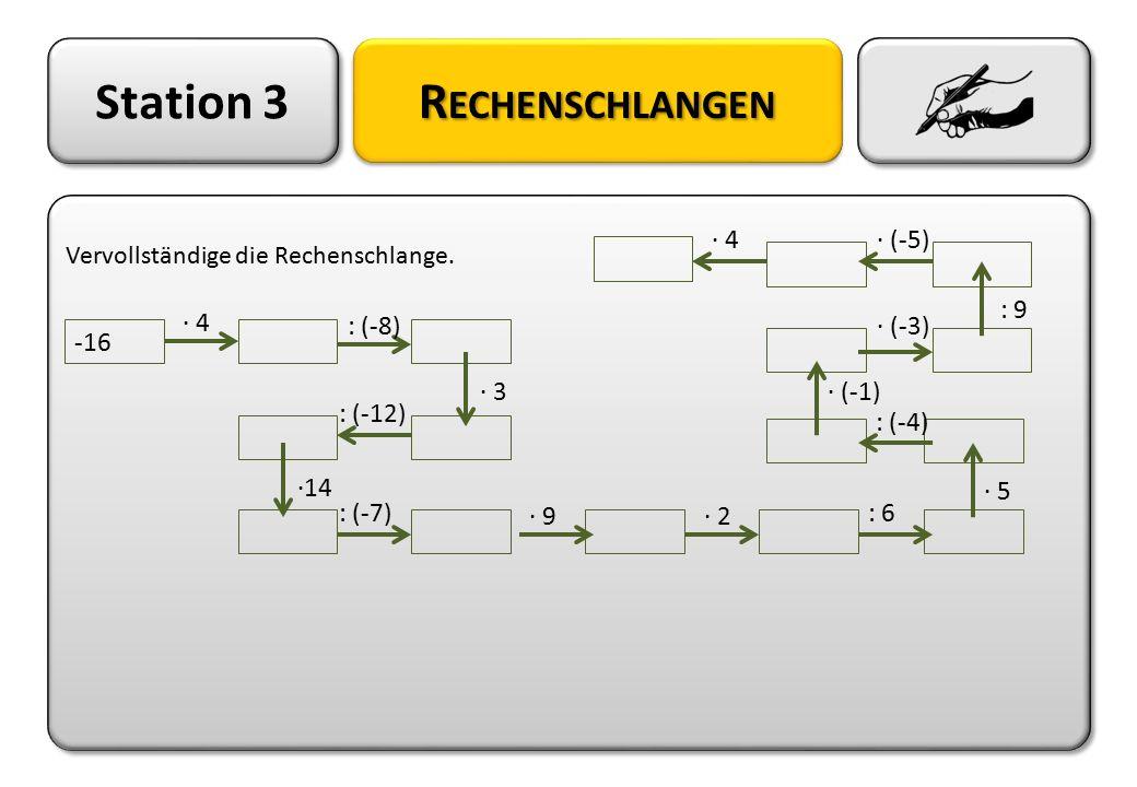 Station 3 R ECHENSCHLANGEN Vervollständige die Rechenschlange. Vervollständige die Rechenschlange. -16 · 4 : (-8) : (-12) · 3 ·14 : (-7): 6 · 9· 2 · 5