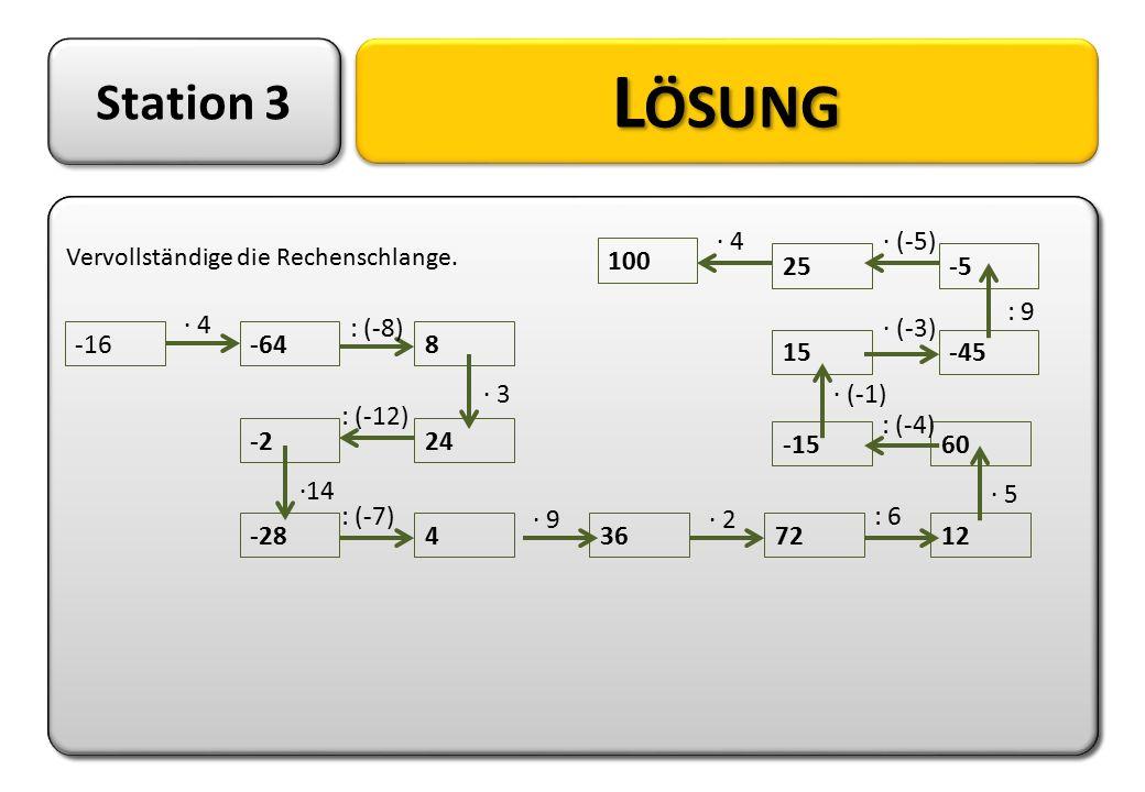 Station 3 L ÖSUNG Vervollständige die Rechenschlange. Vervollständige die Rechenschlange. -16-648 24-2 -284367212 60-15 15-45 -525 100 · 4 : (-8) : (-