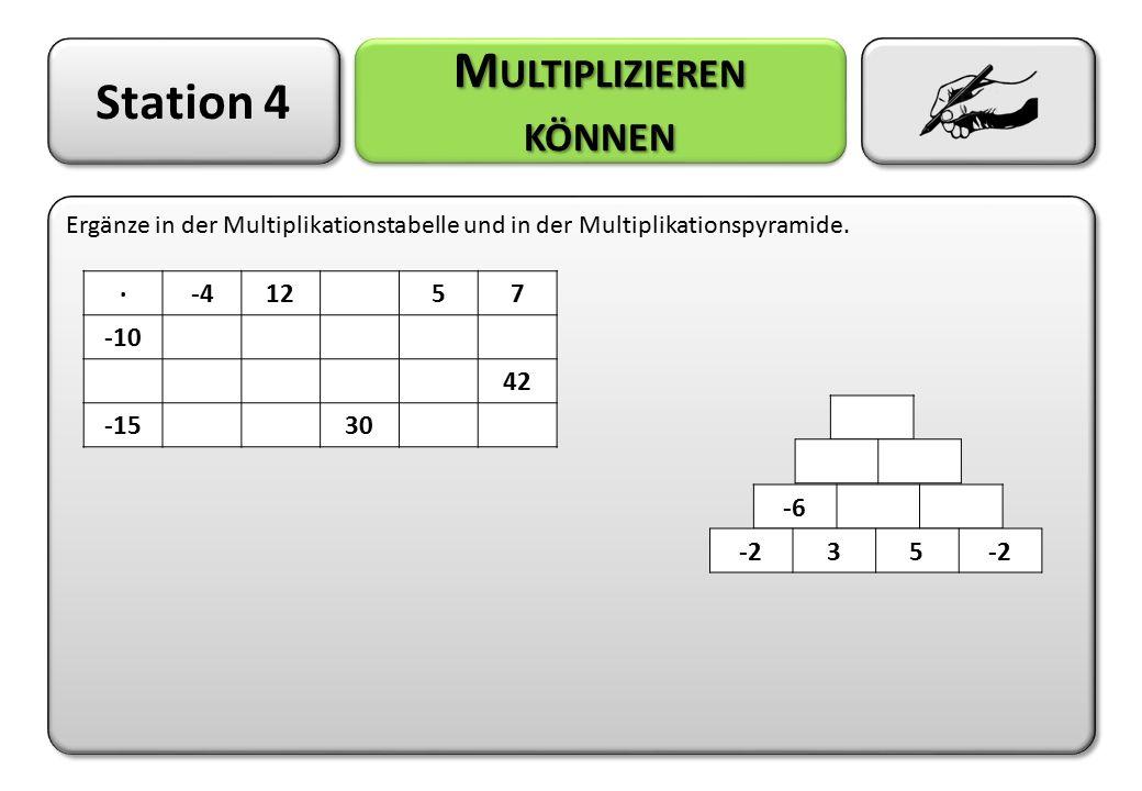 Station 4 M ULTIPLIZIEREN KÖNNEN Ergänze in der Multiplikationstabelle und in der Multiplikationspyramide. ·-41257 -10 42 -1530 -6 -235