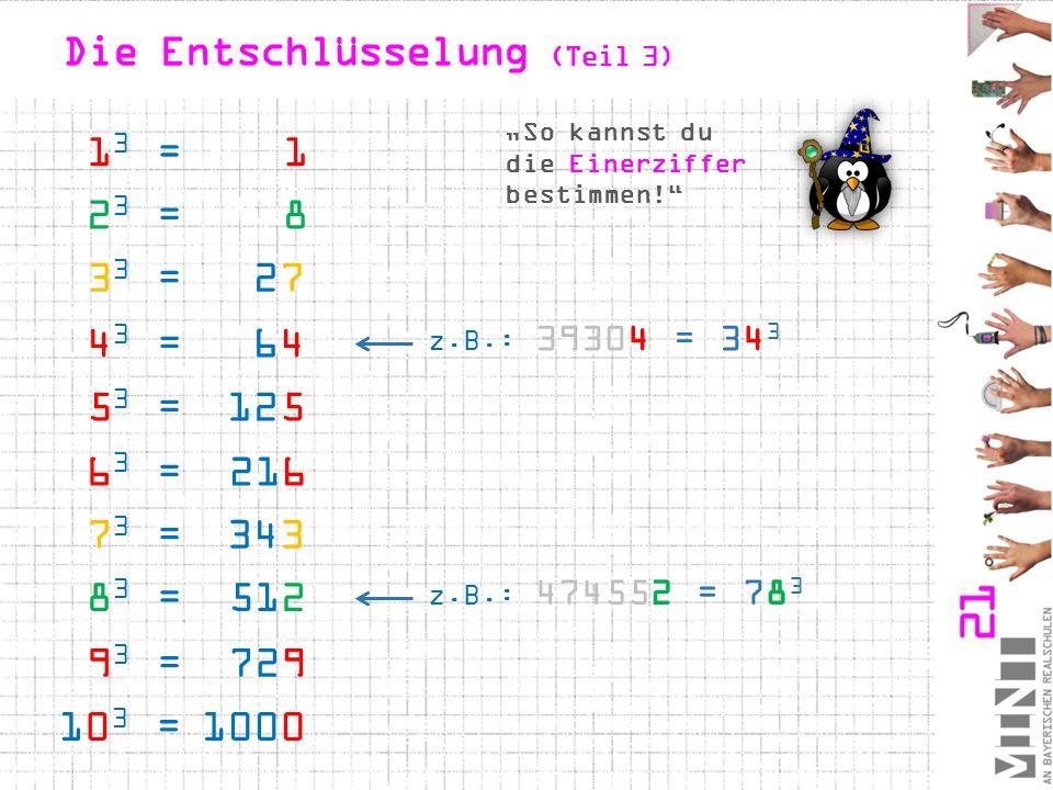 """Die Entschlüsselung (Teil 3) z.B.: 39304 = 34 3 z.B.: 474552 = 78 3 1 3 = 1 4 3 = 64 5 3 = 125 6 3 = 216 3 3 = 27 7 3 = 343 2 3 = 8 8 3 = 512 9 3 = 729 10 3 = 1000 """"So kannst du die Einerziffer bestimmen!"""