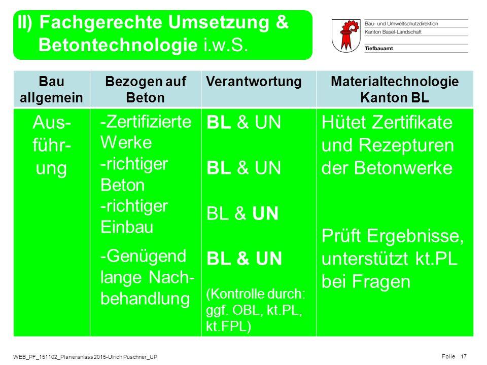 WEB_PF_151102_Planeranlass 2015-Ulrich Püschner_UP Folie Bau allgemein Bezogen auf Beton VerantwortungMaterialtechnologie Kanton BL Aus- führ- ung -Ze