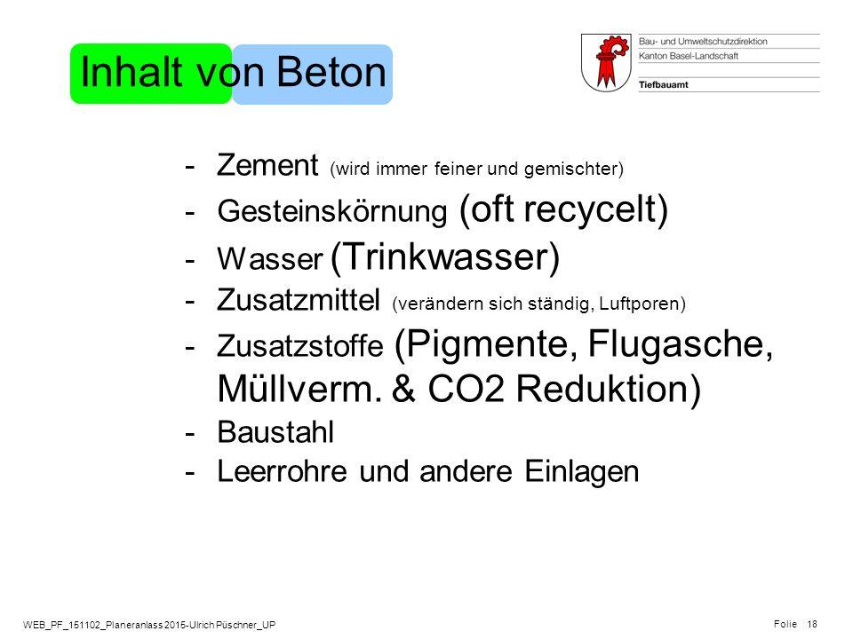 WEB_PF_151102_Planeranlass 2015-Ulrich Püschner_UP Folie 18 Inhalt von Beton -Zement (wird immer feiner und gemischter) -Gesteinskörnung (oft recycelt