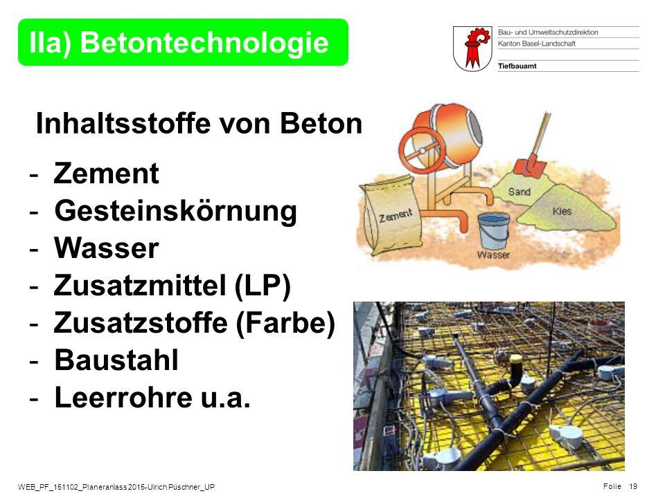 WEB_PF_151102_Planeranlass 2015-Ulrich Püschner_UP Folie IIa) Betontechnologie -Zement -Gesteinskörnung -Wasser -Zusatzmittel (LP) -Zusatzstoffe (Farb