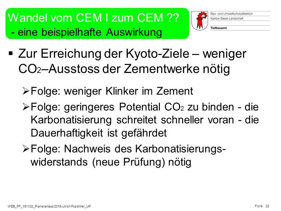 WEB_PF_151102_Planeranlass 2015-Ulrich Püschner_UP Folie Wandel vom CEM I zum CEM ?? - eine beispielhafte Auswirkung  Zur Erreichung der Kyoto-Ziele