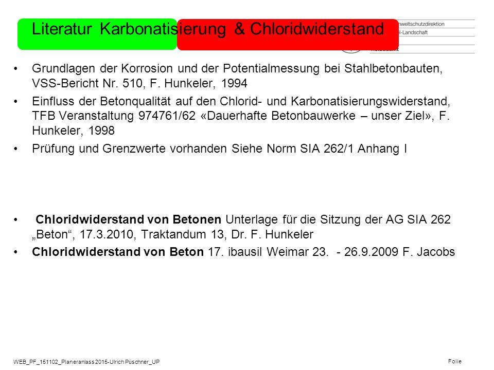 WEB_PF_151102_Planeranlass 2015-Ulrich Püschner_UP Folie Literatur Karbonatisierung & Chloridwiderstand Grundlagen der Korrosion und der Potentialmess