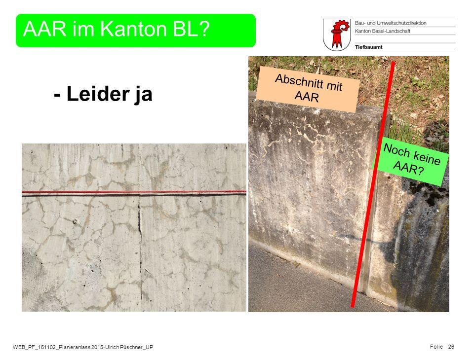 WEB_PF_151102_Planeranlass 2015-Ulrich Püschner_UP Folie 26 Noch keine AAR? Abschnitt mit AAR - Leider ja AAR im Kanton BL?