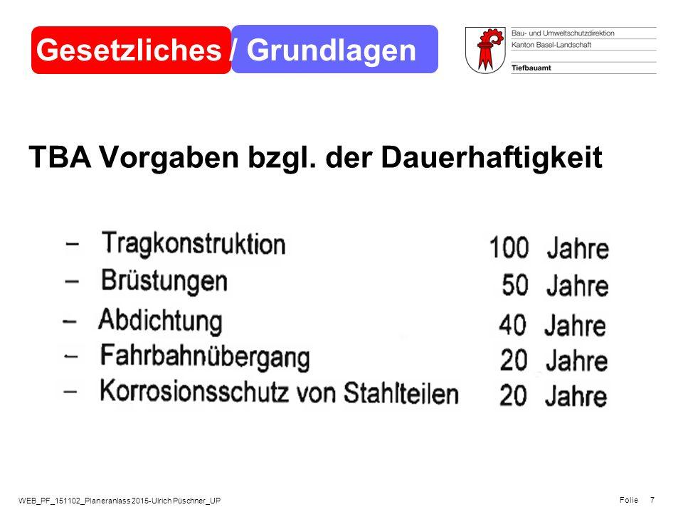 WEB_PF_151102_Planeranlass 2015-Ulrich Püschner_UP Folie 7 TBA Vorgaben bzgl. der Dauerhaftigkeit Gesetzliches / Grundlagen