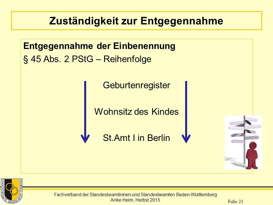 Fachverband der Standesbeamtinnen und Standesbeamten Baden-Württemberg Anke Heim, Herbst 2015 Folie 23 Zuständigkeit zur Entgegennahme Entgegennahme d