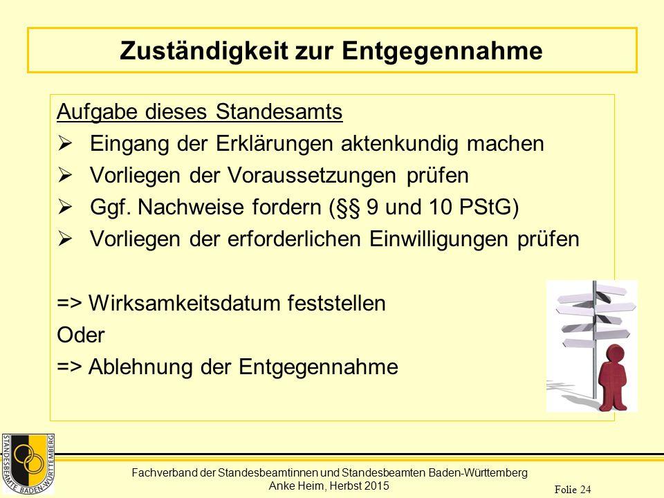 Fachverband der Standesbeamtinnen und Standesbeamten Baden-Württemberg Anke Heim, Herbst 2015 Folie 24 Zuständigkeit zur Entgegennahme Aufgabe dieses