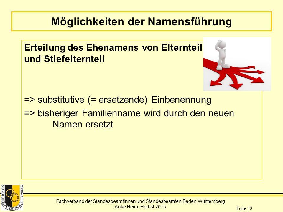 Fachverband der Standesbeamtinnen und Standesbeamten Baden-Württemberg Anke Heim, Herbst 2015 Folie 30 Möglichkeiten der Namensführung Erteilung des E