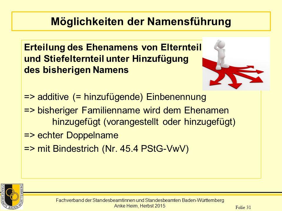 Fachverband der Standesbeamtinnen und Standesbeamten Baden-Württemberg Anke Heim, Herbst 2015 Folie 31 Möglichkeiten der Namensführung Erteilung des E